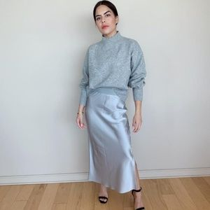 Theory Silver Maxi Satin Skirt